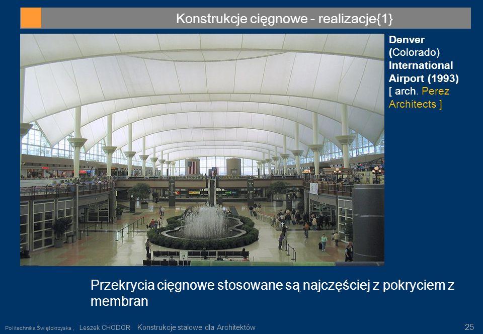 Konstrukcje cięgnowe - realizacje{1} Denver (Colorado) International Airport (1993) [ arch. Perez Architects ] Przekrycia cięgnowe stosowane są najczę