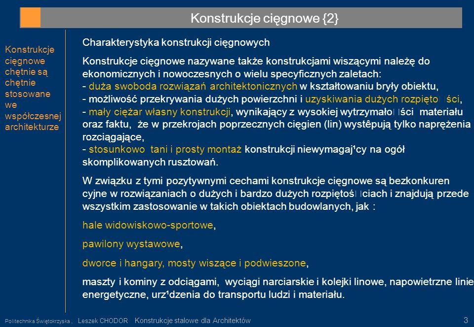 Konstrukcje cięgnowe {2} Konstrukcje cięgnowe chętnie są chętnie stosowane we współczesnej architekturze Politechnika Świętokrzyska, Leszek CHODOR Kon