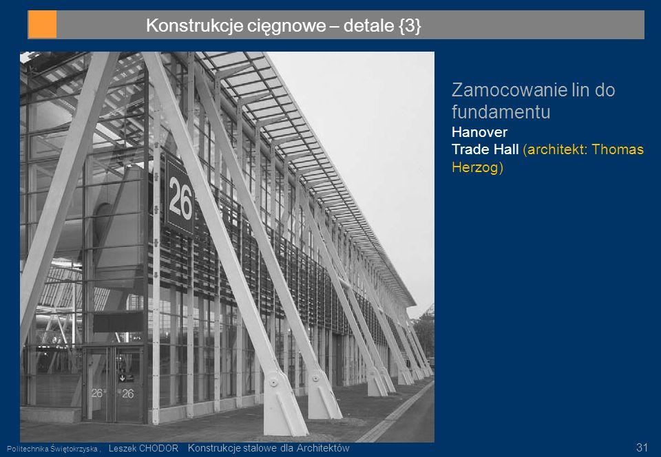 Konstrukcje cięgnowe – detale {3} Zamocowanie lin do fundamentu Hanover Trade Hall (architekt: Thomas Herzog) Politechnika Świętokrzyska, Leszek CHODO