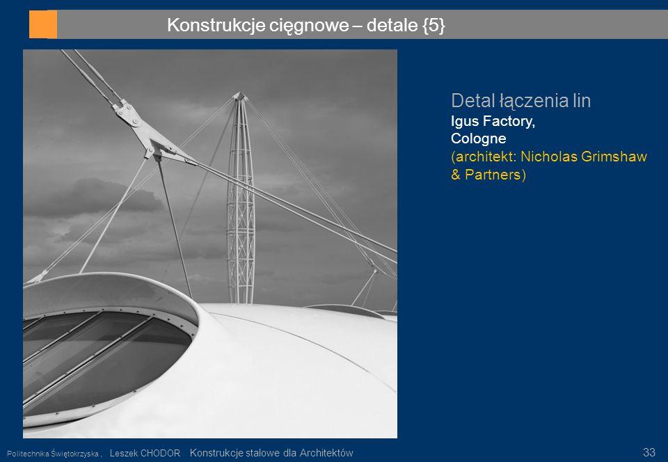 Konstrukcje cięgnowe – detale {5} Detal łączenia lin Igus Factory, Cologne (architekt: Nicholas Grimshaw & Partners) Politechnika Świętokrzyska, Lesze