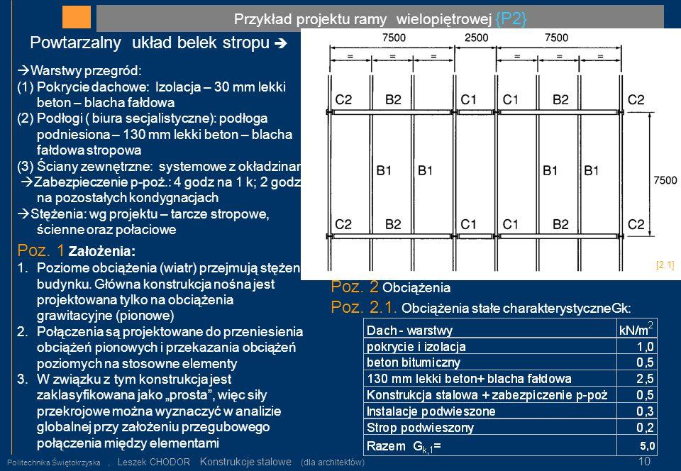 Przykład projektu ramy wielopiętrowej {P2} Politechnika Świętokrzyska, Leszek CHODOR Konstrukcje stalowe (dla architektów) 10 Powtarzalny układ belek
