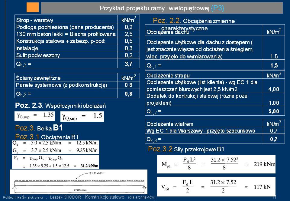 Przykład projektu ramy wielopiętrowej {P3} Politechnika Świętokrzyska, Leszek CHODOR Konstrukcje stalowe (dla architektów) 11 Poz. 2.2. Obciążenia zmi