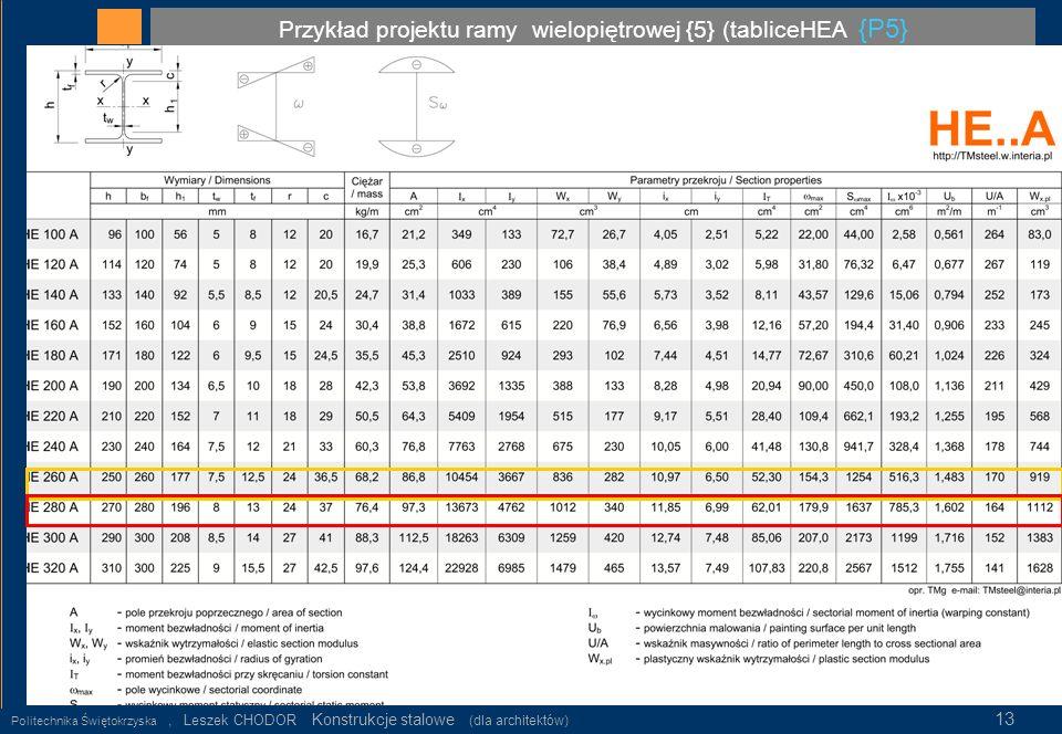 Przykład projektu ramy wielopiętrowej {5} (tabliceHEA {P5} Politechnika Świętokrzyska, Leszek CHODOR Konstrukcje stalowe (dla architektów) 13