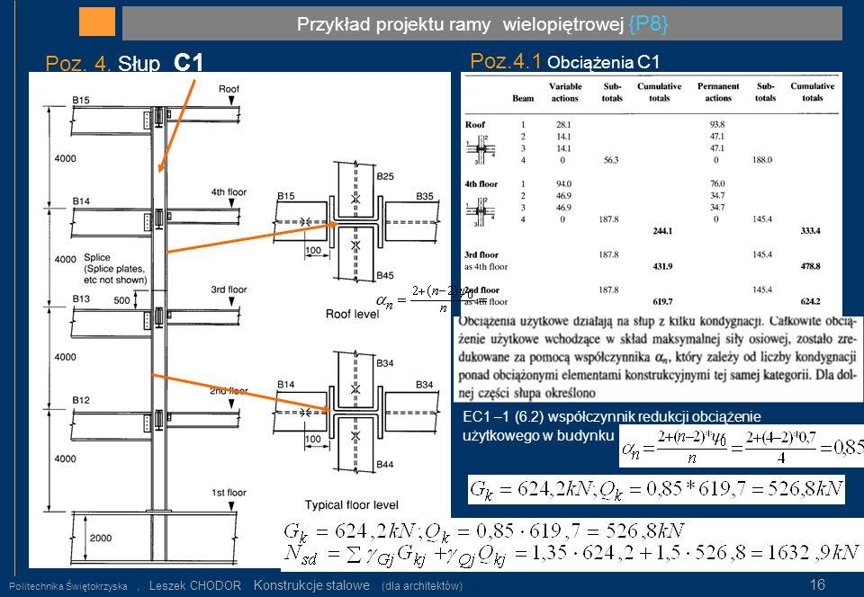 Przykład projektu ramy wielopiętrowej {P8} Politechnika Świętokrzyska, Leszek CHODOR Konstrukcje stalowe (dla architektów) 16 Poz. 4. Słup C1 Poz.4.1