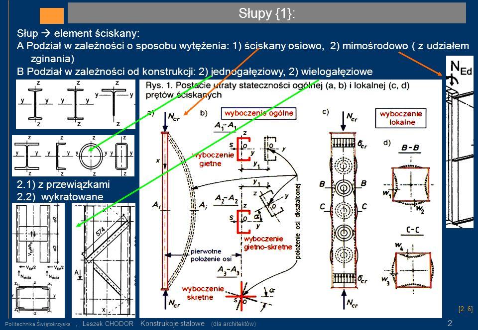 Słupy {1}: Politechnika Świętokrzyska, Leszek CHODOR Konstrukcje stalowe (dla architektów) 2 Słup element ściskany: A Podział w zależności o sposobu w