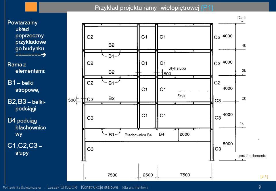 Przykład projektu ramy wielopiętrowej {P1} Politechnika Świętokrzyska, Leszek CHODOR Konstrukcje stalowe (dla architektów) 9 Powtarzalny układ poprzec