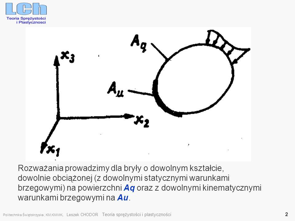 Politechnika Świętokrzyska, KM,KMiMK, Leszek CHODOR Teoria sprężystości i plastyczności 13