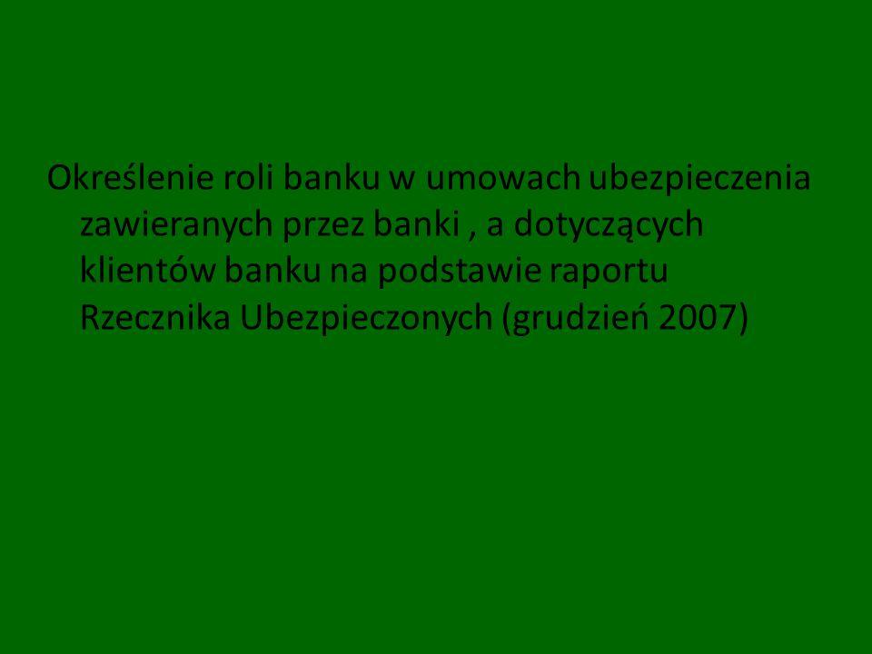Określenie roli banku w umowach ubezpieczenia zawieranych przez banki, a dotyczących klientów banku na podstawie raportu Rzecznika Ubezpieczonych (gru