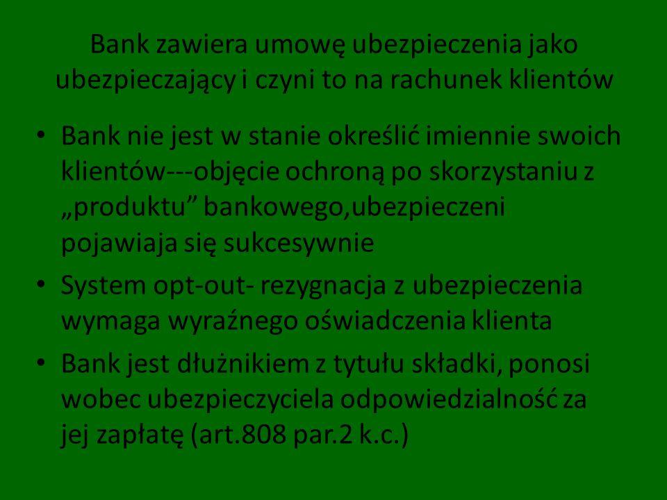 Bank zawiera umowę ubezpieczenia jako ubezpieczający i czyni to na rachunek klientów Bank nie jest w stanie określić imiennie swoich klientów---objęci