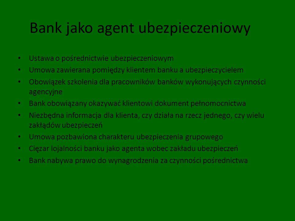 Bank jako agent ubezpieczeniowy Ustawa o pośrednictwie ubezpieczeniowym Umowa zawierana pomiędzy klientem banku a ubezpieczycielem Obowiązek szkolenia