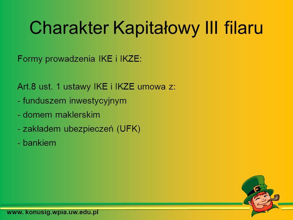 Charakter Kapitałowy III filaru www. konusig.wpia.uw.edu.pl Formy prowadzenia IKE i IKZE: Art.8 ust. 1 ustawy IKE i IKZE umowa z: - funduszem inwestyc
