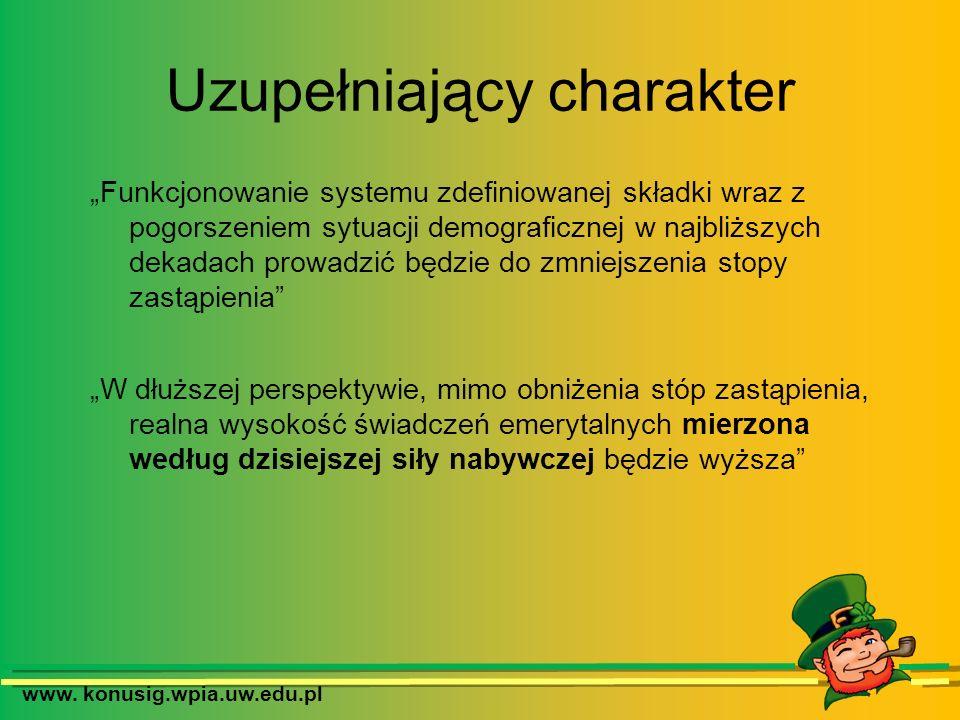 www. konusig.wpia.uw.edu.pl Uzupełniający charakter Funkcjonowanie systemu zdefiniowanej składki wraz z pogorszeniem sytuacji demograficznej w najbliż