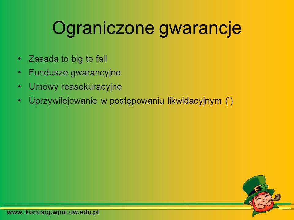 Ograniczone gwarancje Zasada to big to fall Fundusze gwarancyjne Umowy reasekuracyjne Uprzywilejowanie w postępowaniu likwidacyjnym (') www. konusig.w