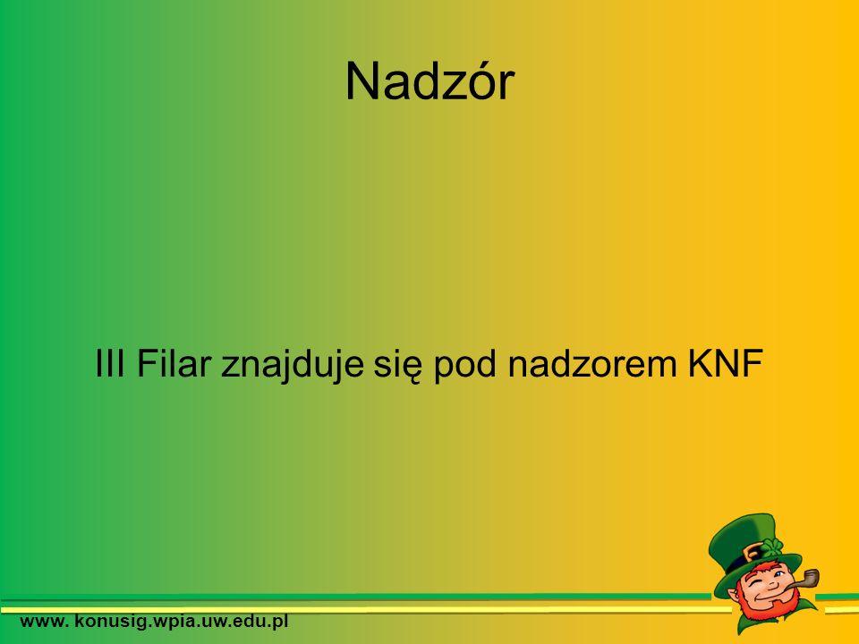 Nadzór III Filar znajduje się pod nadzorem KNF