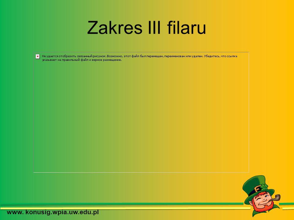 Zakres III filaru www. konusig.wpia.uw.edu.pl