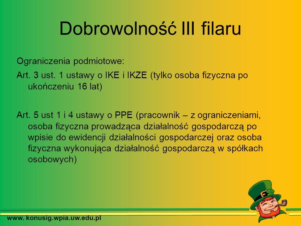 Dobrowolność III filaru Ograniczenia podmiotowe: Art. 3 ust. 1 ustawy o IKE i IKZE (tylko osoba fizyczna po ukończeniu 16 lat) Art. 5 ust 1 i 4 ustawy