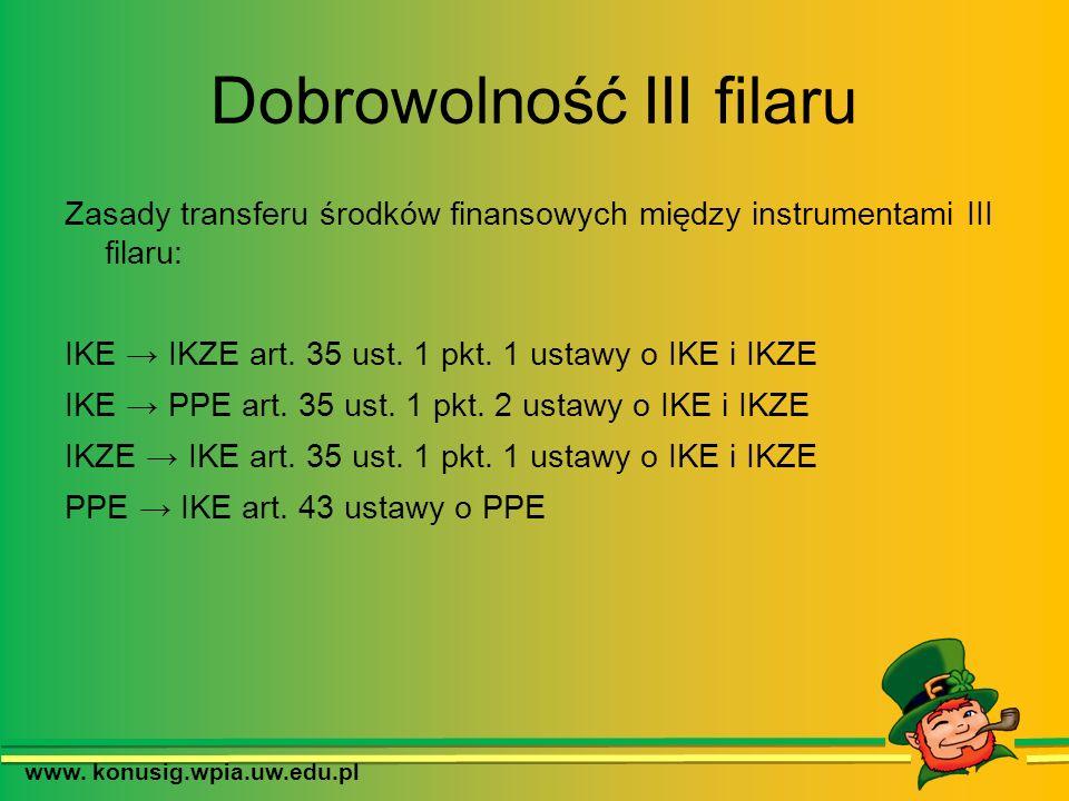 Dobrowolność III filaru Zasady transferu środków finansowych między instrumentami III filaru: IKE IKZE art. 35 ust. 1 pkt. 1 ustawy o IKE i IKZE IKE P