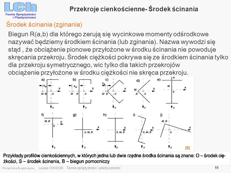 Politechnika Świętokrzyska, Leszek CHODOR Teoria sprężystości i plastyczności 11 Przekroje cienkościenne- Środek ścinania Środek ścinania (zginania) B