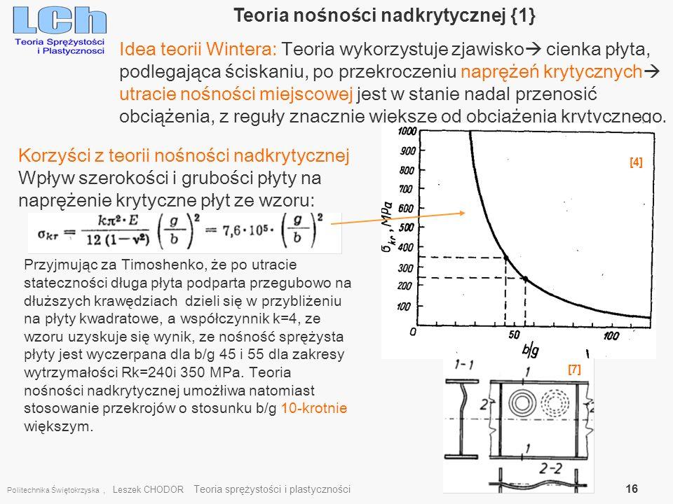 Politechnika Świętokrzyska, Leszek CHODOR Teoria sprężystości i plastyczności 16 Teoria nośności nadkrytycznej {1} Idea teorii Wintera: Teoria wykorzy