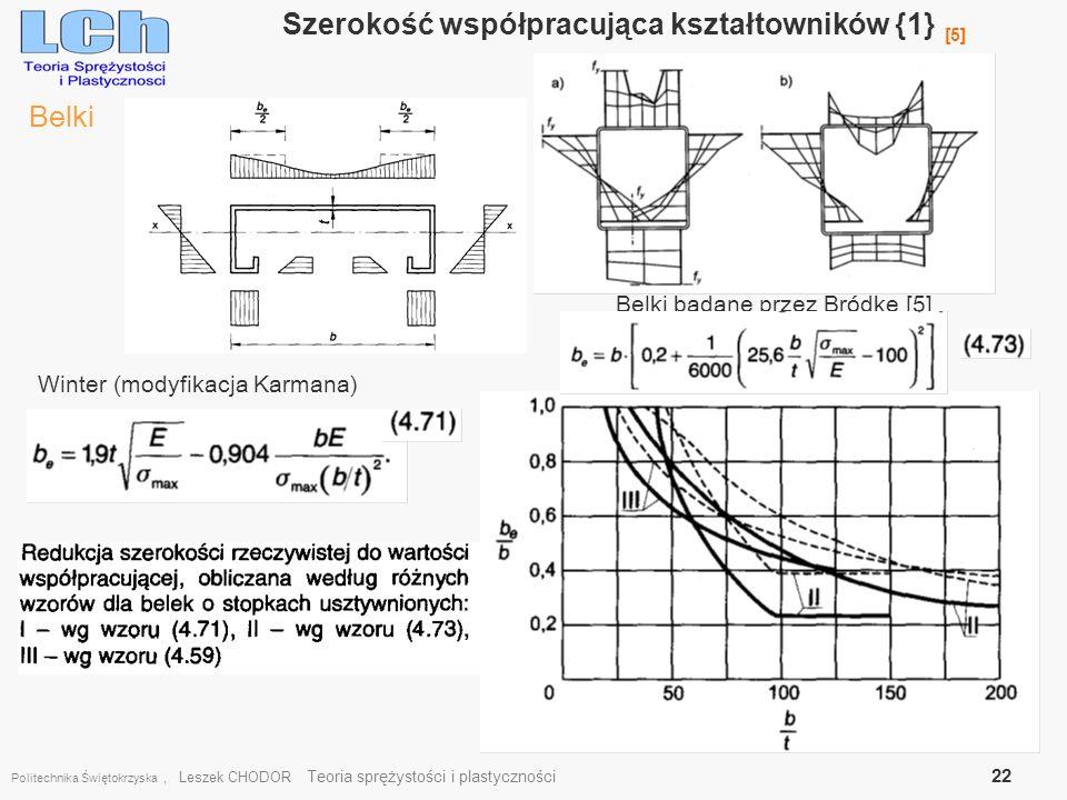 Politechnika Świętokrzyska, Leszek CHODOR Teoria sprężystości i plastyczności 22 Szerokość współpracująca kształtowników {1} [5] Belki Winter (modyfik