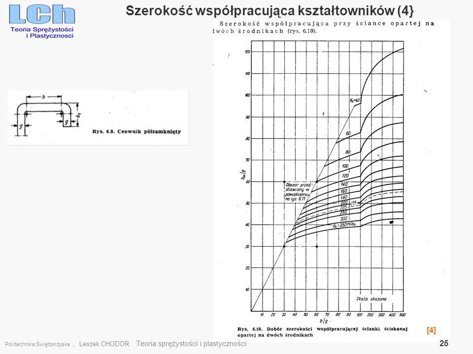Politechnika Świętokrzyska, Leszek CHODOR Teoria sprężystości i plastyczności 25 Szerokość współpracująca kształtowników (4} [4]