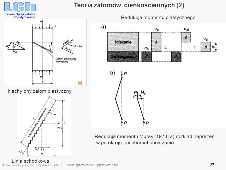 Politechnika Świętokrzyska, Leszek CHODOR Teoria sprężystości i plastyczności 27 Teoria załomów cienkościennych (2} [6] Redukcja momentu plastycznego