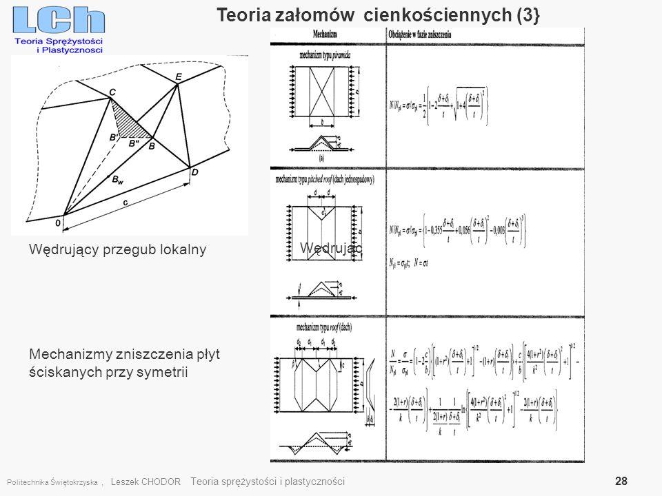 Politechnika Świętokrzyska, Leszek CHODOR Teoria sprężystości i plastyczności 28 Teoria załomów cienkościennych (3} [6] Wędrujący przegub lokalny Wędr