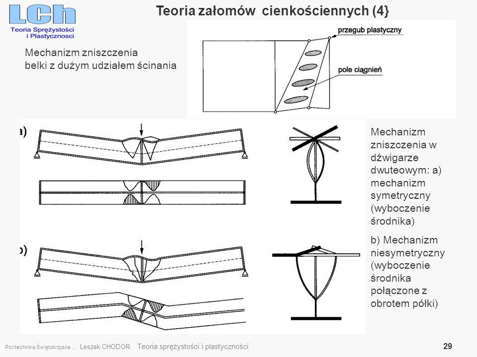 Politechnika Świętokrzyska, Leszek CHODOR Teoria sprężystości i plastyczności 29 Teoria załomów cienkościennych (4} Mechanizm zniszczenia belki z duży