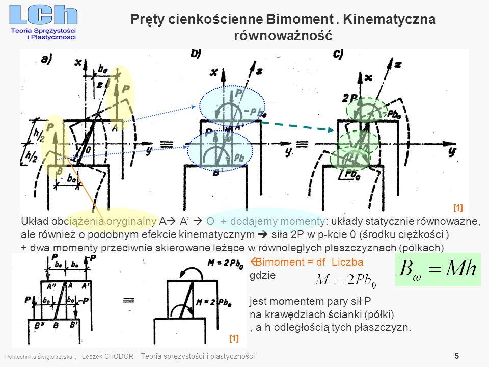 Politechnika Świętokrzyska, Leszek CHODOR Teoria sprężystości i plastyczności 5 Pręty cienkościenne Bimoment. Kinematyczna równoważność Układ obciążen