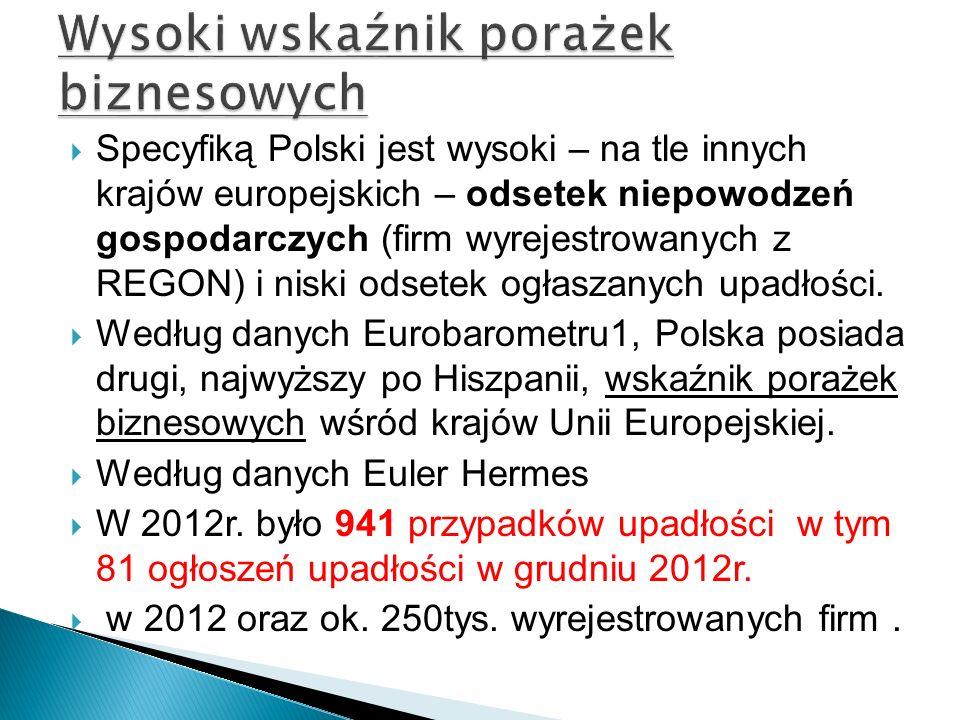 Specyfiką Polski jest wysoki – na tle innych krajów europejskich – odsetek niepowodzeń gospodarczych (firm wyrejestrowanych z REGON) i niski odsetek o