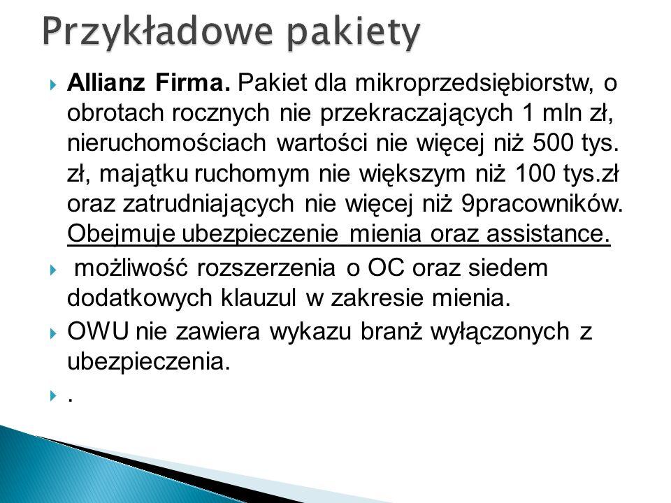Allianz Firma. Pakiet dla mikroprzedsiębiorstw, o obrotach rocznych nie przekraczających 1 mln zł, nieruchomościach wartości nie więcej niż 500 tys. z