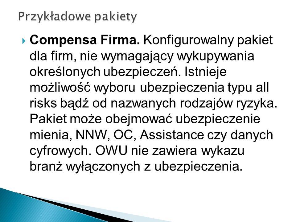 Compensa Firma. Konfigurowalny pakiet dla firm, nie wymagający wykupywania określonych ubezpieczeń. Istnieje możliwość wyboru ubezpieczenia typu all r