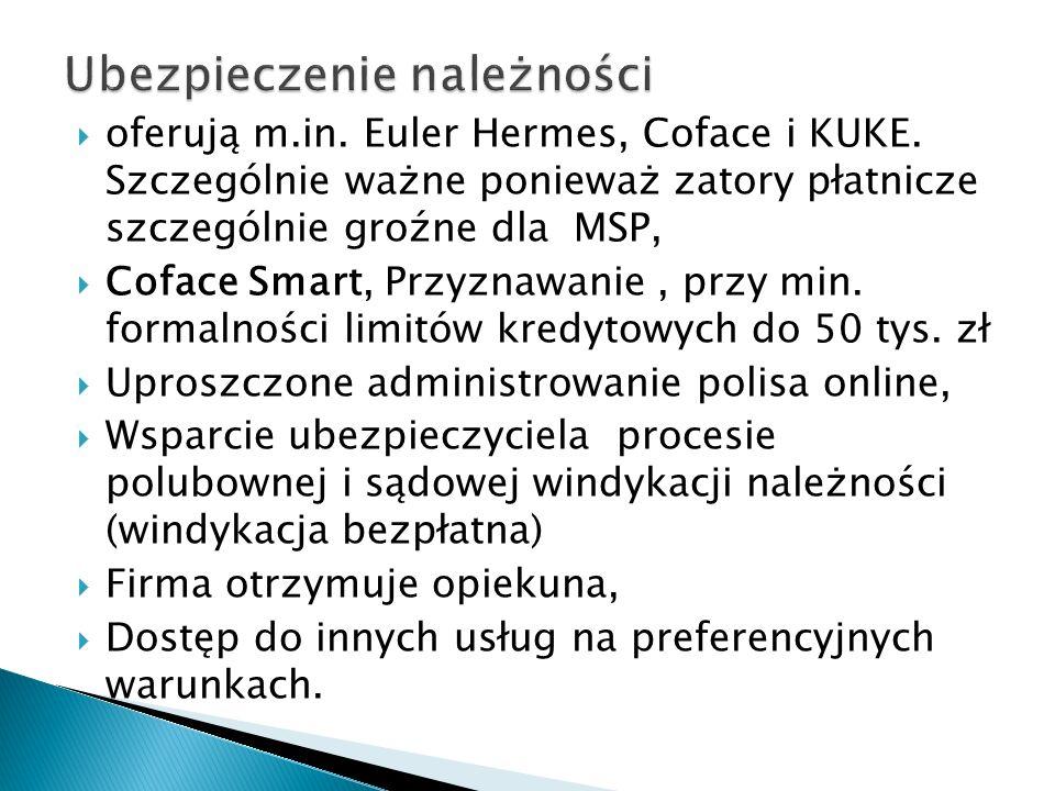 oferują m.in. Euler Hermes, Coface i KUKE. Szczególnie ważne ponieważ zatory płatnicze szczególnie groźne dla MSP, Coface Smart, Przyznawanie, przy mi