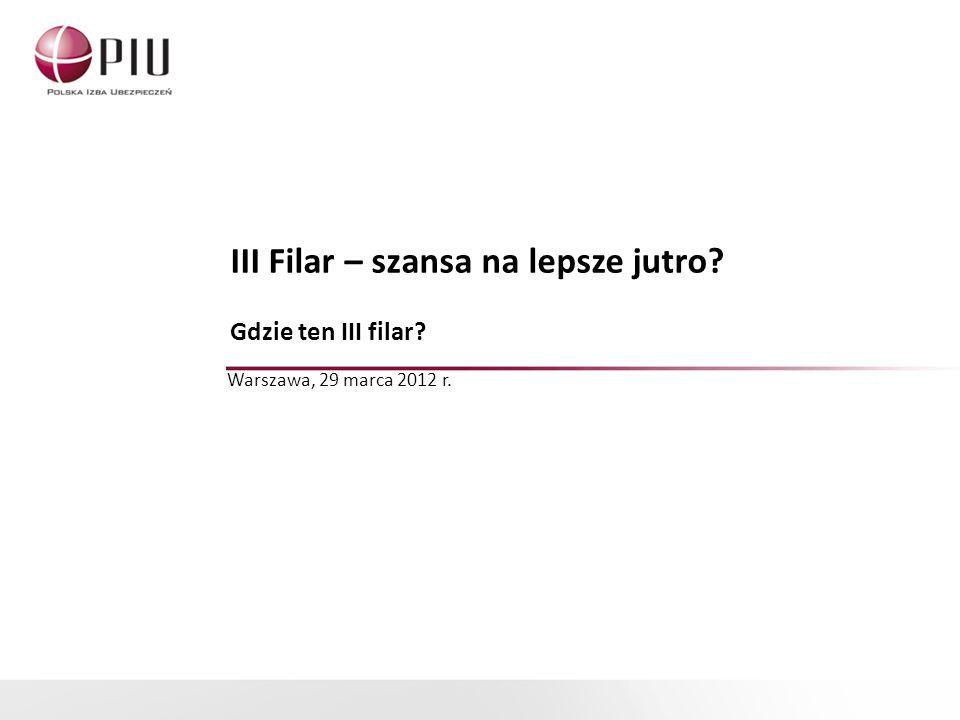 III Filar – szansa na lepsze jutro? Gdzie ten III filar? Warszawa, 29 marca 2012 r.