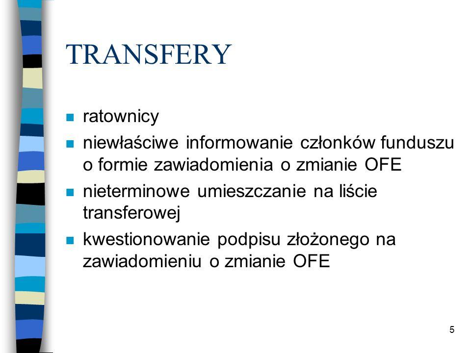 TRANSFERY n ratownicy n niewłaściwe informowanie członków funduszu o formie zawiadomienia o zmianie OFE n nieterminowe umieszczanie na liście transferowej n kwestionowanie podpisu złożonego na zawiadomieniu o zmianie OFE 5