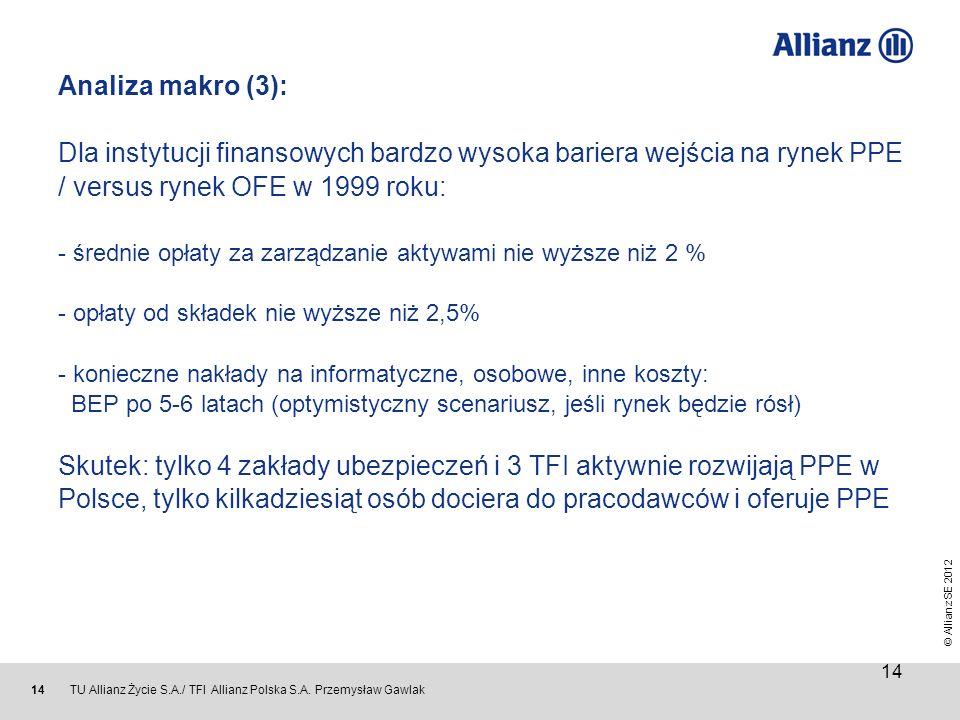© Allianz SE 2012 TU Allianz Życie S.A./ TFI Allianz Polska S.A. Przemysław Gawlak 14 Analiza makro (3): Dla instytucji finansowych bardzo wysoka bari