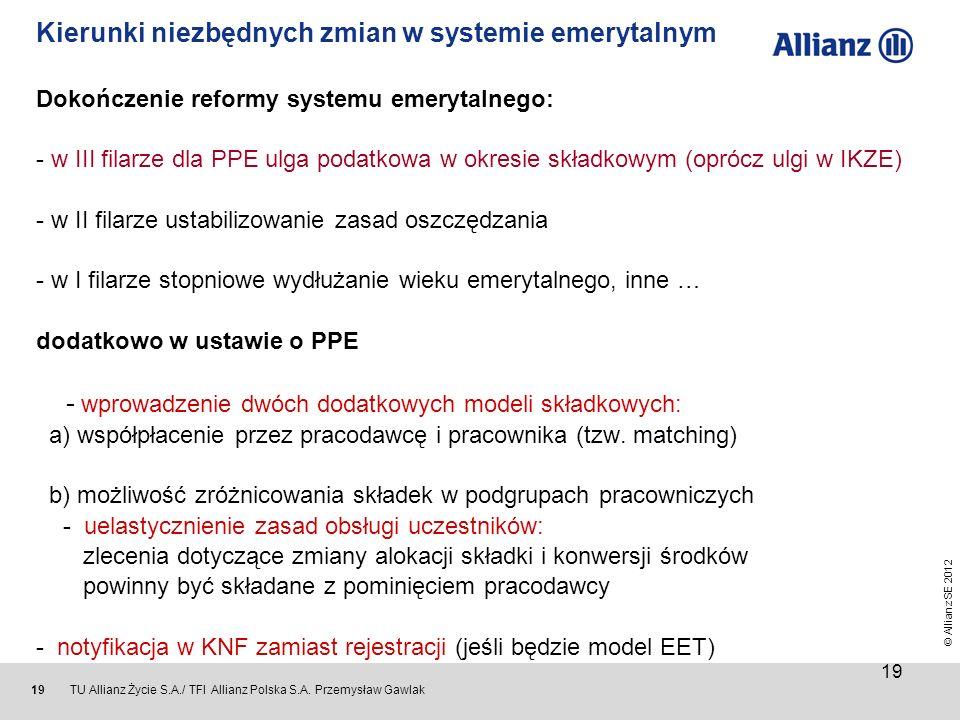 © Allianz SE 2012 TU Allianz Życie S.A./ TFI Allianz Polska S.A. Przemysław Gawlak 19 Kierunki niezbędnych zmian w systemie emerytalnym Dokończenie re