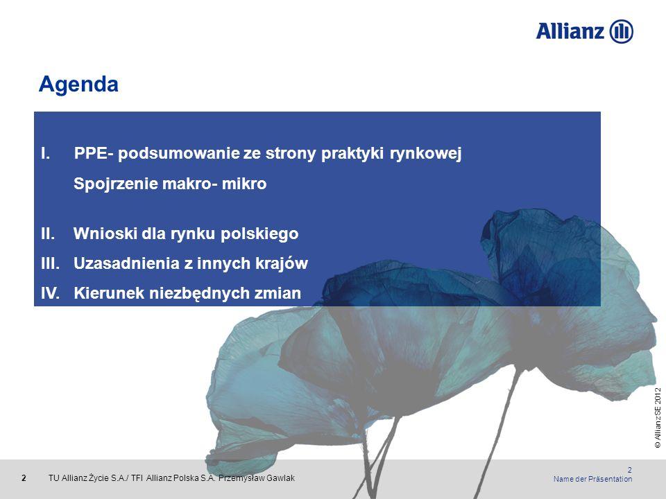 © Allianz SE 2012 TU Allianz Życie S.A./ TFI Allianz Polska S.A. Przemysław Gawlak 2 2 Name der Präsentation Agenda I.PPE- podsumowanie ze strony prak