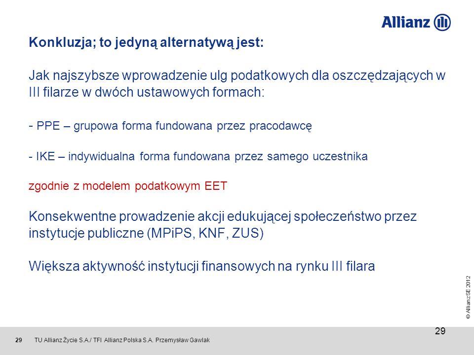 © Allianz SE 2012 TU Allianz Życie S.A./ TFI Allianz Polska S.A. Przemysław Gawlak 29 Konkluzja; to jedyną alternatywą jest: Jak najszybsze wprowadzen
