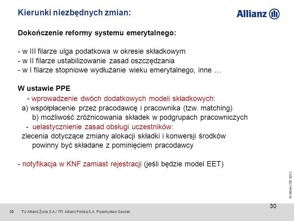 © Allianz SE 2012 TU Allianz Życie S.A./ TFI Allianz Polska S.A. Przemysław Gawlak 30 Kierunki niezbędnych zmian: Dokończenie reformy systemu emerytal