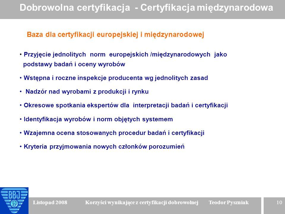 10 Listopad 2008 Korzyści wynikające z certyfikacji dobrowolnej Teodor Pyszniak Baza dla certyfikacji europejskiej i międzynarodowej Przyjęcie jednoli