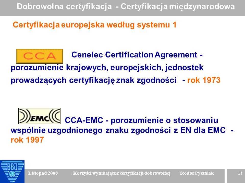 11 Listopad 2008 Korzyści wynikające z certyfikacji dobrowolnej Teodor Pyszniak Certyfikacja europejska według systemu 1 Cenelec Certification Agreeme