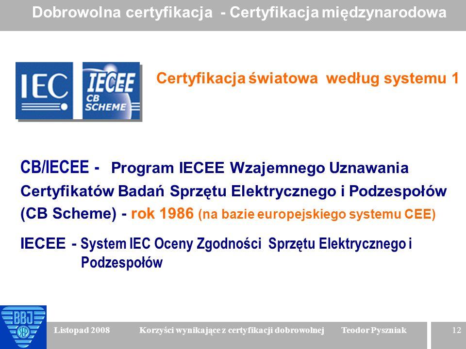 12 Listopad 2008 Korzyści wynikające z certyfikacji dobrowolnej Teodor Pyszniak CB/IECEE - Program IECEE Wzajemnego Uznawania Certyfikatów Badań Sprzę