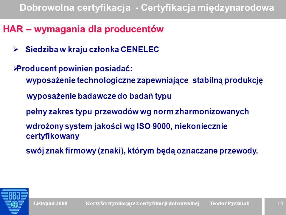 15 Listopad 2008 Korzyści wynikające z certyfikacji dobrowolnej Teodor Pyszniak Liczba certyfikatów wydanych rocznie w systemie CB/IECEE HAR – wymagan