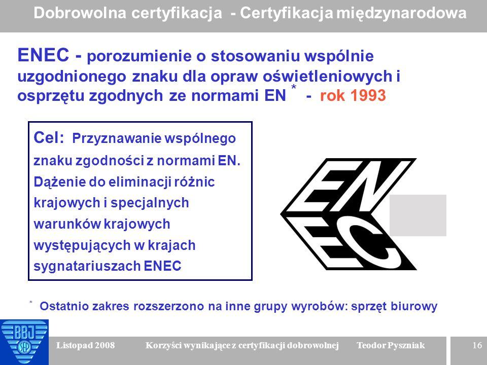 16 Listopad 2008 Korzyści wynikające z certyfikacji dobrowolnej Teodor Pyszniak ENEC - porozumienie o stosowaniu wspólnie uzgodnionego znaku dla opraw