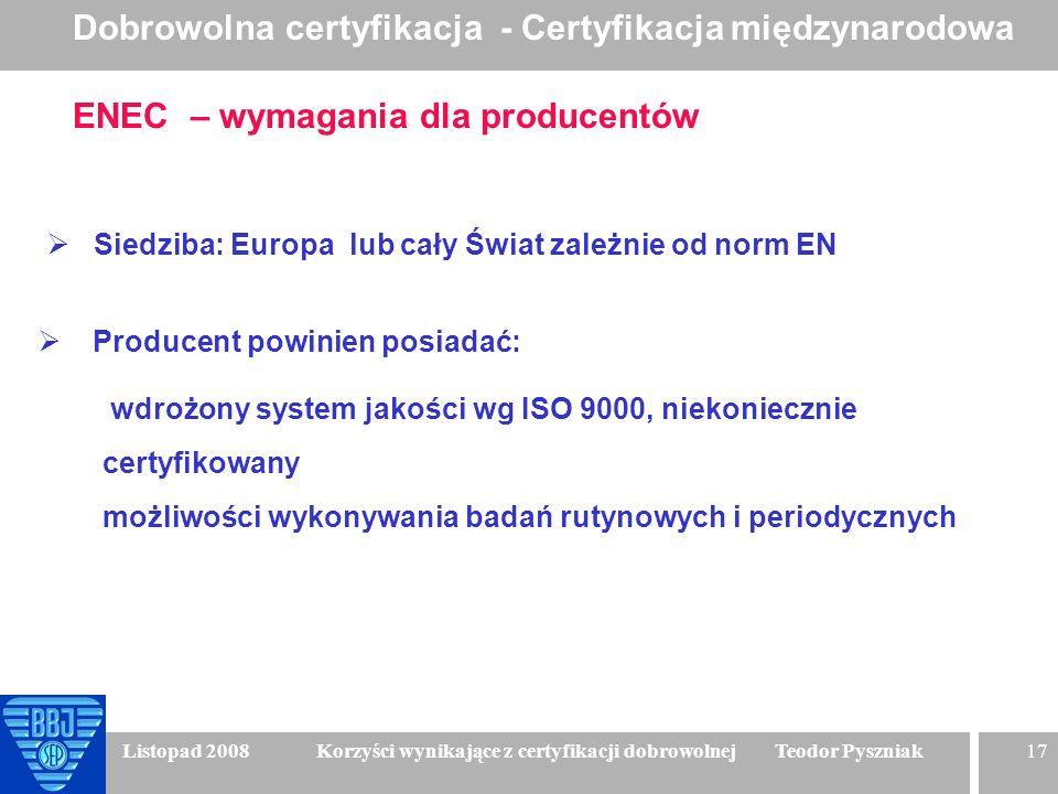 17 Listopad 2008 Korzyści wynikające z certyfikacji dobrowolnej Teodor Pyszniak ENEC – wymagania dla producentów Siedziba: Europa lub cały Świat zależ