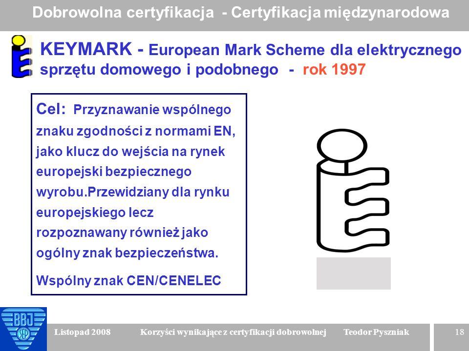 18 Listopad 2008 Korzyści wynikające z certyfikacji dobrowolnej Teodor Pyszniak KEYMARK - European Mark Scheme dla elektrycznego sprzętu domowego i po