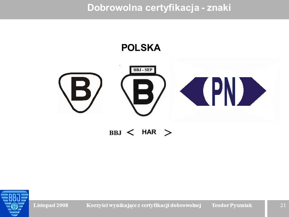 21 Listopad 2008 Korzyści wynikające z certyfikacji dobrowolnej Teodor Pyszniak Dobrowolna certyfikacja - znaki POLSKA