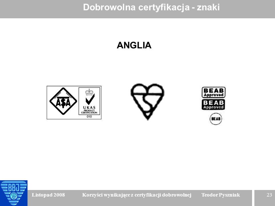 23 Listopad 2008 Korzyści wynikające z certyfikacji dobrowolnej Teodor Pyszniak Dobrowolna certyfikacja - znaki ANGLIA