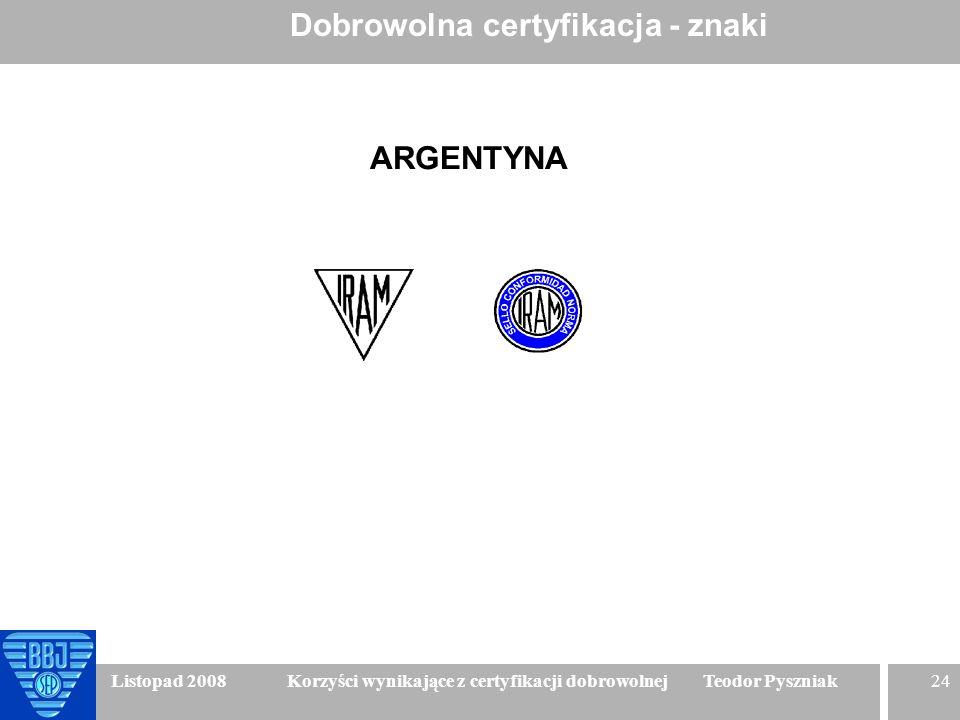 24 Listopad 2008 Korzyści wynikające z certyfikacji dobrowolnej Teodor Pyszniak Dobrowolna certyfikacja - znaki ARGENTYNA